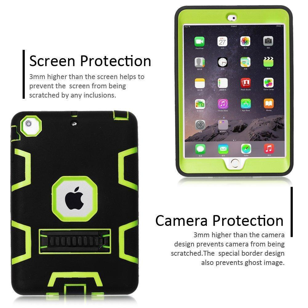 360 / Shockproof Military Heavy Duty Rubber With Hard Stand Case For Apple iPad