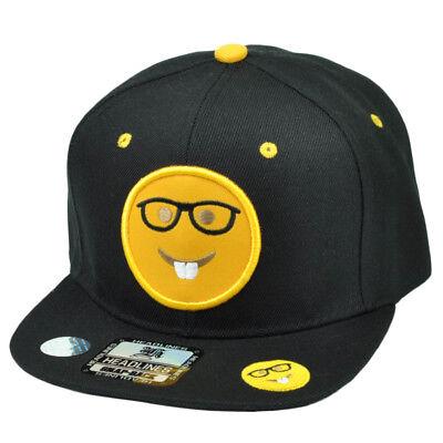 Emoji Nerdy Brille Gesicht Emoticons Text Symbol Snapback Kappe Flatbill Schwarz
