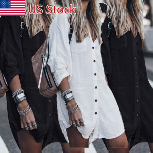 Women Long Sleeve V Neck Mini Dress Summer Casual Long Shirt