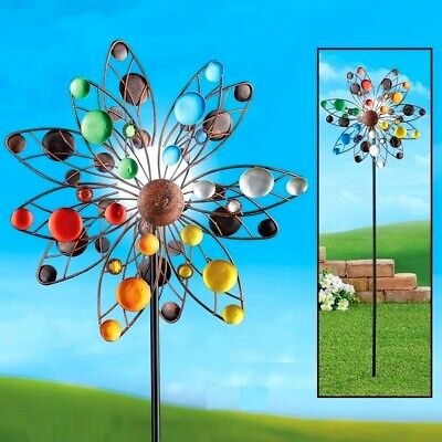 4 Ft Confetti Solar Lighted Colorful Kinetic Double Wind Spinner Garden Yard Art