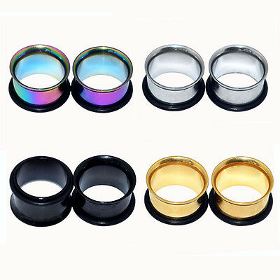 2PCS Surgical Stainless Single Flare Tunnels W/O-rings Ear Plugs Gauges -