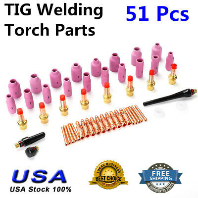 51 Pcs Tig Welding Torch Accessories Parts Kit For Wp-171826 Series Cups Lens