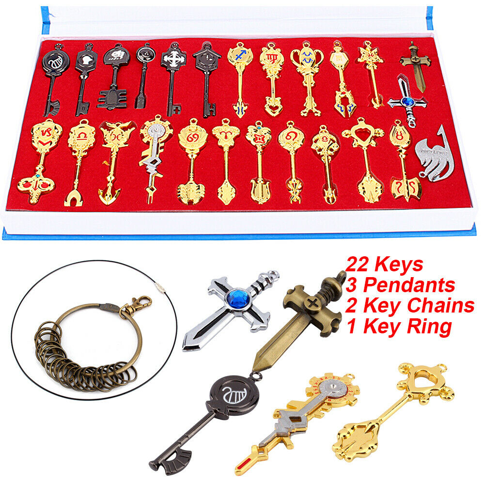 Anime Fairy Tail Lucy Set of 30Pcs Keys Necklace Pendants Keychains Cosplay Gift