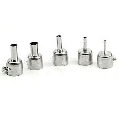 5Pcs Universal Meatal Heat Gun Resisting Nozzles Hot Air Guns Silver for 45x24mm