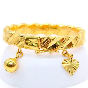 Vintage Gold Plated Heart Bracelet Children Boys Girls Baby Kids Jewelry Bangle