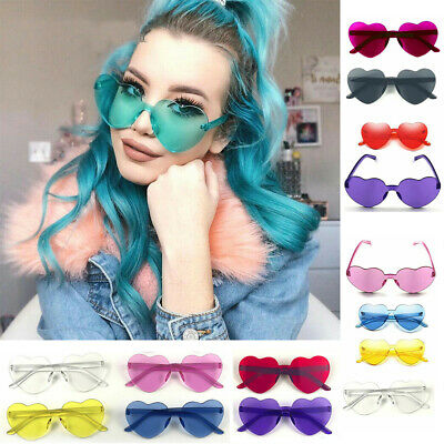 Women Sunglasses Love Heart Shape Frame Trendy Candy Colors Sun Glasses Girl (Candies Sunglasses)