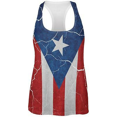 Distressed Puerto Rican Flag All Over Womens Work Out Tank Top