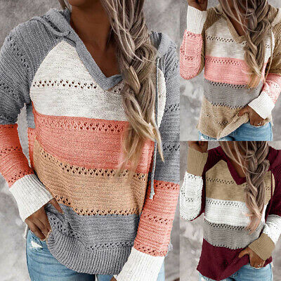 Casual Women Autumn Long Sleeve Knitted Pullover Hooded Sweater Hoodie Blouser Clothing, Shoes & Accessories