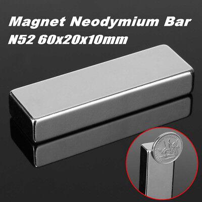 60x20x10mm Super Strong Block Bar Rare Earth Neodymium Fridge Magnet N52 Grace