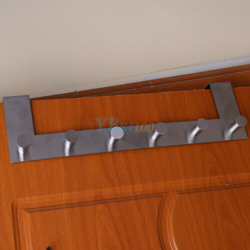 space saver over the door home bathroom coat towel hanger rack 6 hooks. Black Bedroom Furniture Sets. Home Design Ideas