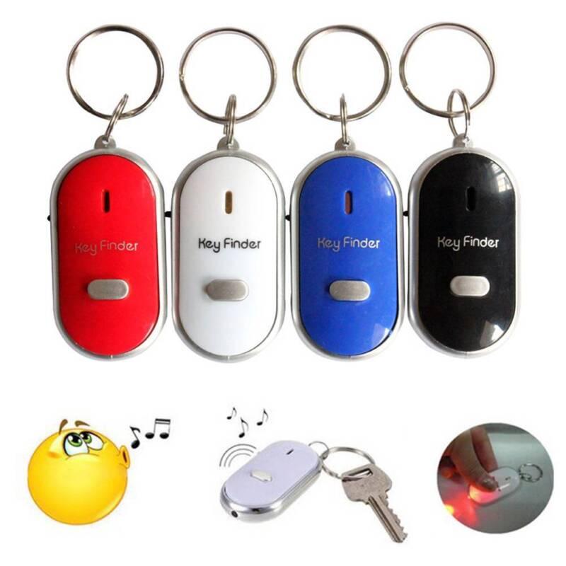 1x LED Key Finder Locator Find Lost Keys Chain Keychain Whistle Sound Control