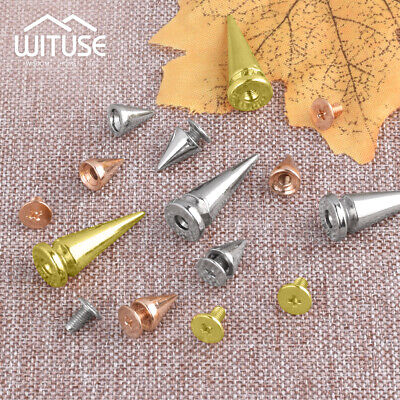 Cone Gold Bullet Stud Screw Spikes Punk Belt Leathercraft Rivet Accessory -