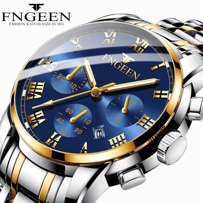 Herren Uhren Luxus Gold Edelstahl Analog Quarz Wasserdicht Sportuhr Armbanduhren