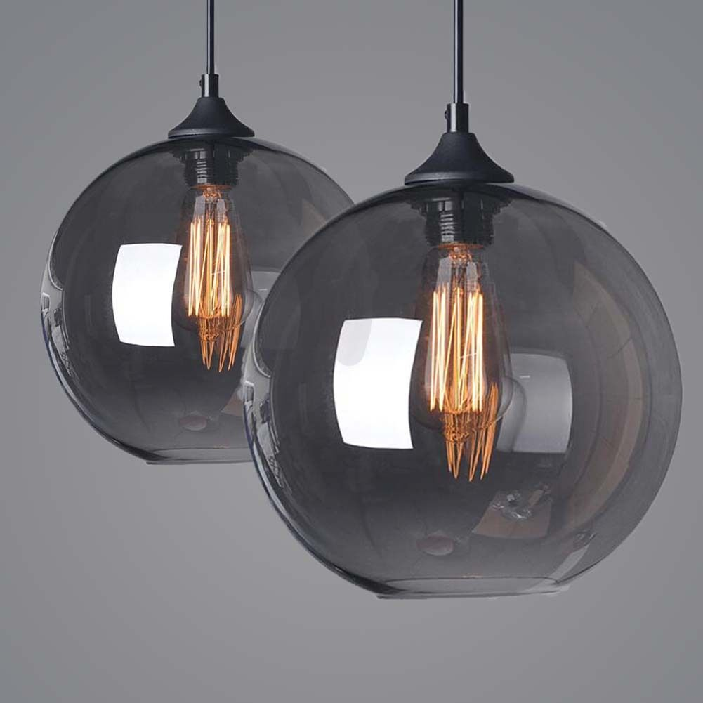 Grey Glass Shade Vintage Retro LOFT Ceiling Chandelier LED
