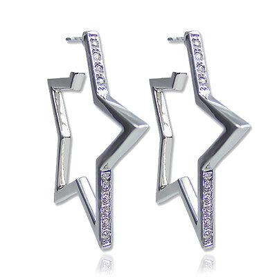 Stern Creolen mit Kristallen von Swarovski® Silber - NOBEL SCHMUCK