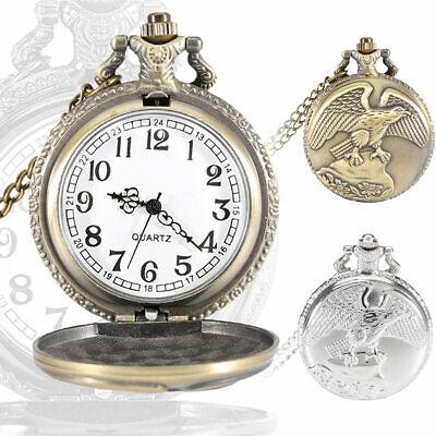Uhr Vintage Antike Adler Flügel Quarz Taschenuhr Halskette Anhänger Kette Uhr (Taschenuhr Halskette Flügel)