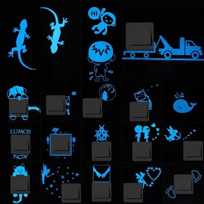 Glow In Dark Lights (Glow in the Dark Light Small Wall Stickers Cartoon Switch Removable Room)