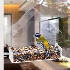 Hanging Garden Transparent Clear Acrylic Window Bird Seed Peanut Feeder House