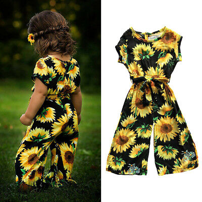 Toddler Kids Baby Girls Sunflower Romper Jumpsuit Short Sleeve Outfits Clothes