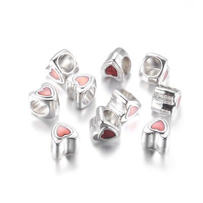 100x Alloy European Bead Heart Love DIY Jewelry Crafts Valentine Bracelet Charms
