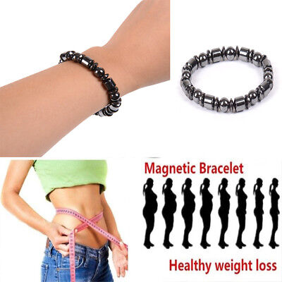 Mens Womens Black Stone Magnetic Therapy Bracelet Beads Weight Loss Health (Black Beaded Magnetic Bracelet)