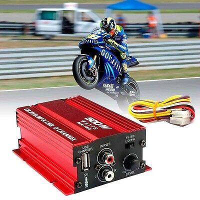 New 12V Mini Hi Fi Music Mp3 Audio Stereo Amplifier For Cars Motorcycle Boat Red