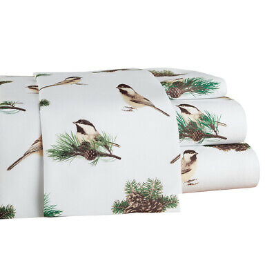 Cozy Winter Chickadees Bed Sheet Set with Pinecone Accents,