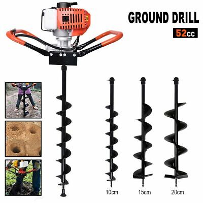 52cc Earth Auger 2.2hp Gas Powered One Man Post Hole Digger Machine 3 Bits