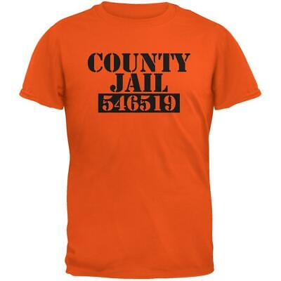 Halloween County Jail Inmate Costume Orange Adult T-Shirt ()