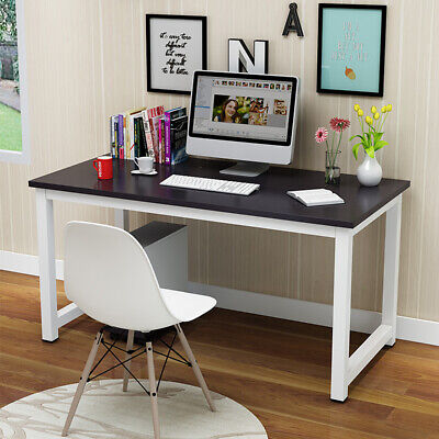 Black &White Computer Desk Corner Wooden Desktop Table Office Workstation Modern