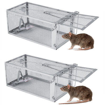 2X One-Door Animal Trap Steel Live Cage for Rodent Control Rat Mice Racoon Home