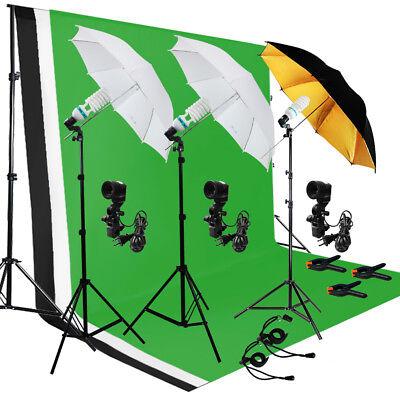 Photo Photography Umbrella Lighting Kit Studio Light Bulb Muslin Backdrop Stand