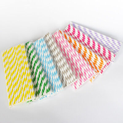 100pcs Biodegradable Paper Drinking Straw Stripe Birthday Party Wedding Colorful - Birthday Paper
