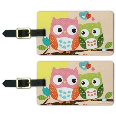 Owl BFFs Best Friends Couple Love Luggage ID Tags Carry-On Cards - Set of