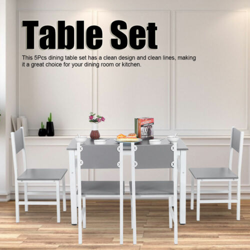 5 Pieces Dining Table Particleboard Table And 4 Chairs Kitchen Dinning Set White
