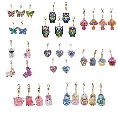 4-5pcs DIY Full Drill Diamond Painting Key Chains Keyring Keychains for Bag (Painted Diamonds Bag)