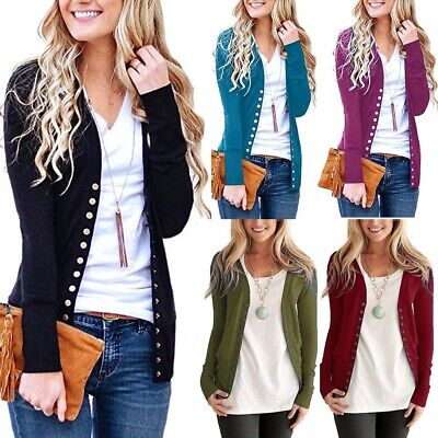 WOMENS LADIES LONG SLEEVE BOYFRIEND CARDIGAN WITH BUTTON PLUS SIZES 6--16 UK