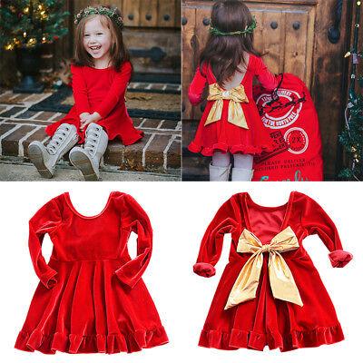 Christmas Dress Velvet Long Sleeve Bowknot Pleated Xmas Dresses for Baby Girls - Velvet Dresses For Girls