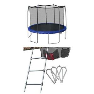 NEW Skywalker 12-Feet Round Trampoline with Enclosure Blue with Accessory Kit