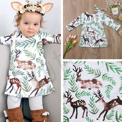 Cute X-mas Christmas Kid Baby Girl Princess Dress Deer Costume Floral Dresses (Cute Christmas Costumes)