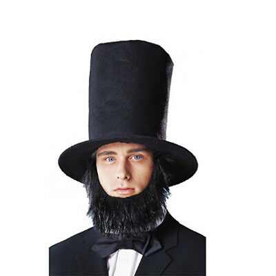 Abraham Lincoln Black Top Hat With Beard Tall Stove Pipe Costume President