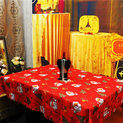 Rectangle Polyester Tablecloth Decors Christmas Santa Claus Design Table Cloth