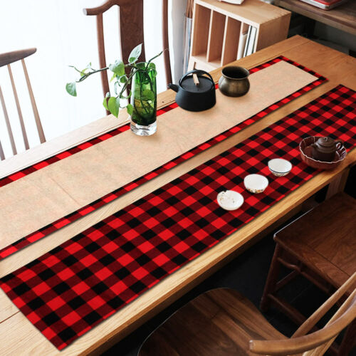 Black And Red Plaid Buffalo Check Table Runner Gingham Country Kitchen Decor Ebay