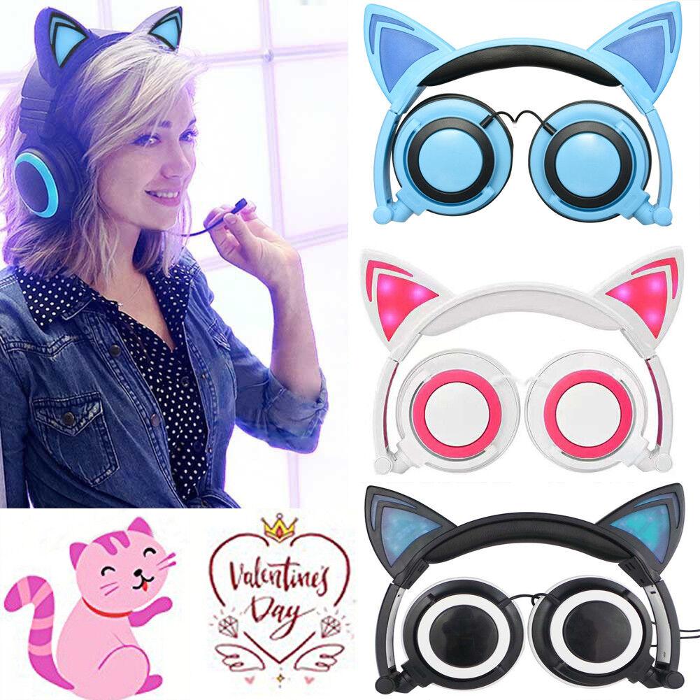 Women Girls Foldable Cat Ear LED Music Lights Headphones Gam