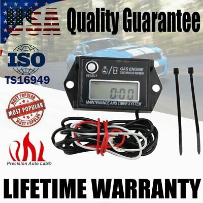 Waterproof Tiny Tach Digital Hour Meter Gauge Tachometer Resettable Job Timer