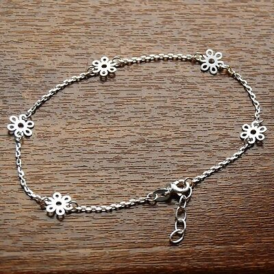 """Solid 925 Sterling Silver 9""""-10"""" Adjustable Daisy Chain Anklet - For Ankle/Foot"""