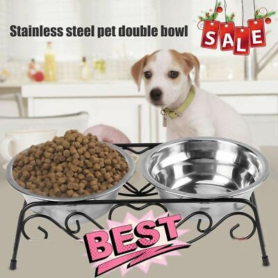 Double Bowl Dog Cat Feeder Elevated Raised Stand Feeding Food Water Pet Dish BP ()