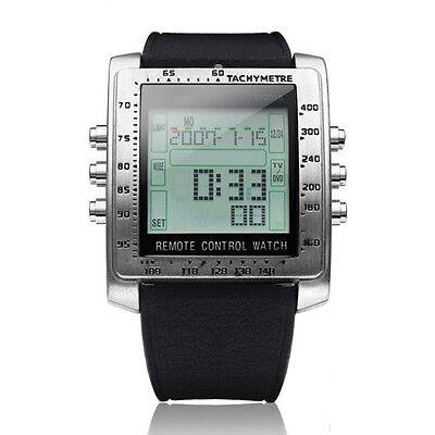 Fashion LCD T Panel Remote Control TV/DVD Function Alarm Wrist Waterproof Watch