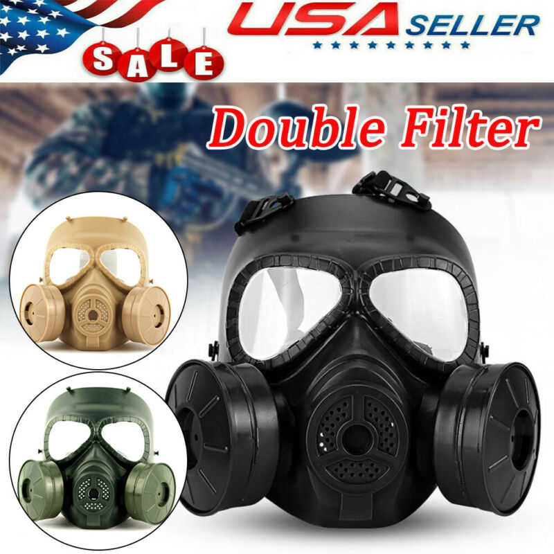 Air Purifying Gas Full Face Guard Double Filter Fan Perspiration CS Edition Hot