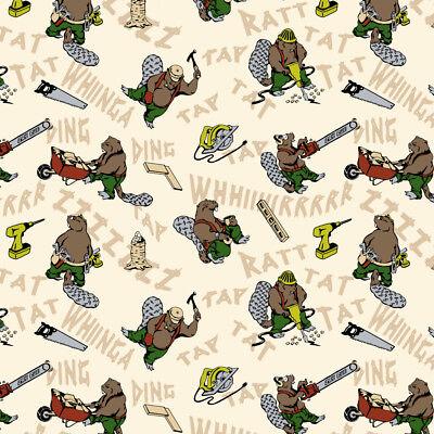 Busy Beavers Building Construction Premium Roll Gift Wrap Wrapping - Construction Paper Roll